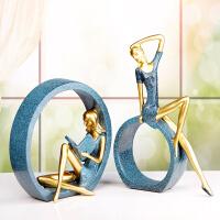 北欧家居装饰工艺品家庭摆饰创意客厅酒柜摆件时尚个性人物小摆设 钴蓝(OK一对)