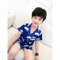 儿童睡衣夏季男童家居服薄款空调服夏天短袖套装