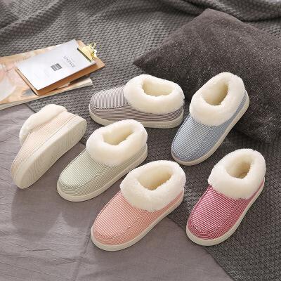 棉拖鞋包跟女秋冬季家居家用防滑保暖加毛毛绒室内厚底情侣棉鞋男