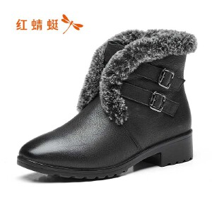 红蜻蜓女鞋秋冬皮鞋鞋子女女靴子加绒短靴WTC7450