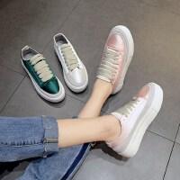新款平底百搭绸缎小白鞋女 户外厚底系带休闲鞋街头帆布鞋女士学生板鞋