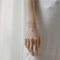 女简约个性几何圆环手链925银小清新学生闺蜜手链