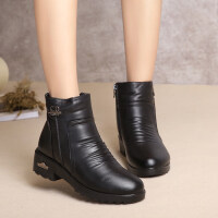 中年女鞋冬季����鞋棉鞋�R丁靴加�q保暖中老年短靴防滑女靴皮靴子 黑色