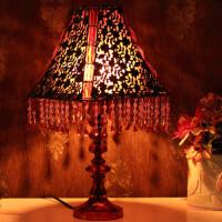 古典串珠 欧式台灯 床头灯 青铜花方锥罩 AJH75