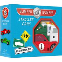 英文原版0 3岁 Bumper-to-Bumper Stroller Cars 盒装卡片书 婴幼儿汽车玩具礼品书 0-
