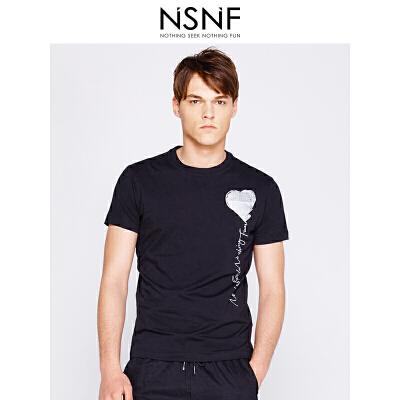 NSNF银色文字纯棉黑色圆领T恤男修身  男装2017短袖新款 修身圆领针织短袖 当当自营 高品质设计师潮牌
