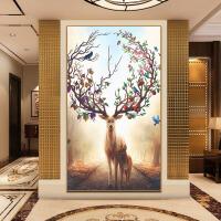 新款精准印花十字绣线绣客厅大幅装饰画玄关挂画名画福鹿发财鹿