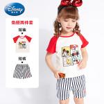 【2件3折价:60.9】迪士尼宝宝女童两件套针织插肩短袖短裤套装夏季新品正品童装