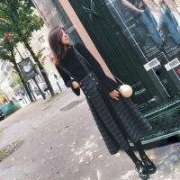 2019新款早秋新款毛衣两件套秋冬季毛呢连衣裙通勤套装裙子女 黑色 毛衣+背带裙