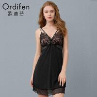 欧迪芬蕾丝吊带睡裙性感露背睡衣女士蕾丝吊带裙OH9102