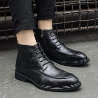 冬季马丁靴男英伦尖头高帮皮鞋黑色韩版潮流皮靴加绒内增高靴子 黑 8235
