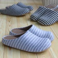 冬季保暖拖鞋情侣拖鞋家居地板拖鞋冬季加厚保暖包头条纹拖鞋居家男女棉拖鞋