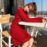 卡贝琳女2019新款法式复古裙山本红色针织连衣裙女秋季很仙的法国小众娃娃裙子女