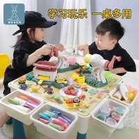 �和�彩泥玩具桌超�p粘土橡皮泥工具模具套�b面�l�C小女孩手工制作