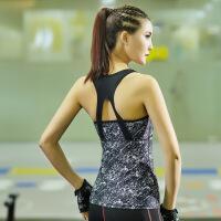 长款瑜伽运动印花背心女带胸垫跑步健身性感塑身弹力速干美背上衣