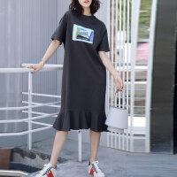 新年特惠夏季韩版2019新款短袖t恤女夏超长款过膝宽松大码鱼尾连衣裙长裙