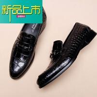 新品上市英伦商务男鞋春季新款尖头套脚真皮鞋男纹休闲一脚蹬皮鞋