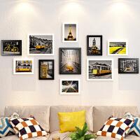 实木相框创意挂墙组合婚纱照洗照片加墙上像框架背景墙照片墙装饰 整套组合(适合墙面约2-3米)