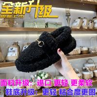毛毛鞋女2018冬新品韩版学生平底面包鞋加绒保暖豆豆鞋雪地棉鞋