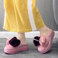 厚底拖鞋女冬坡跟可爱家用室内毛毛绒家居韩版防水保暖增高棉拖鞋