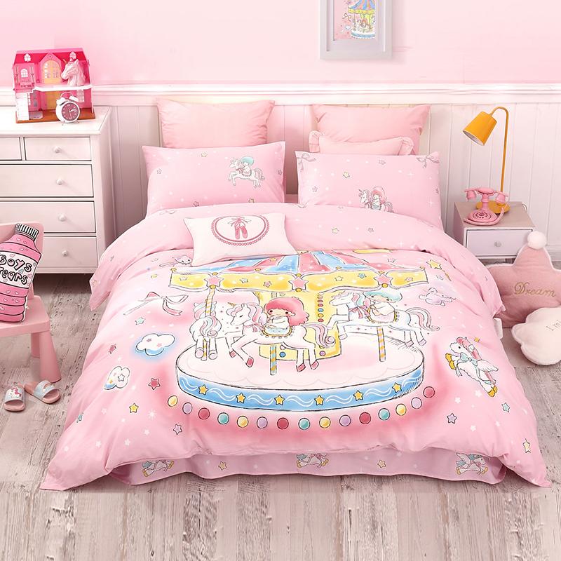 水星家纺 全棉印花抗菌卡通床上四件套儿童床上用品 乐园双子星