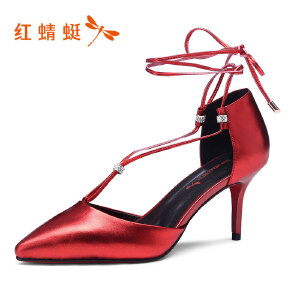 红蜻蜓女鞋秋冬皮鞋鞋子女高跟鞋WFB7500