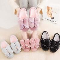 高跟厚底棉拖鞋女式新款冬季包跟可爱坡跟室内加绒内增高冬天