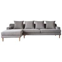 北欧布艺沙发组合日式客厅沙发转角 现代简约布艺沙发整装小户型客厅日式风格家具转角北欧布沙发组合 灰色 右转角