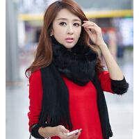 围巾女 纯色围脖冬天披肩   时尚韩国毛线兔毛皮草韩版  长款