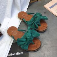 凉拖 女式休闲花朵绒面一字拖2019夏季新款韩版蝴蝶结沙滩橡胶底平跟凉鞋
