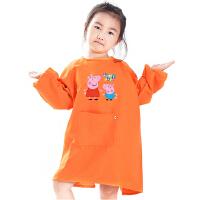 儿童画画衣幼儿园反穿衣罩衣长袖围裙透气大童绘画