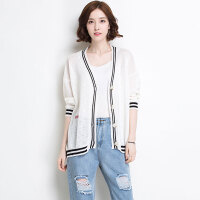 新年特惠2019秋季新款韩版宽松薄款百搭开衫女V领条纹时尚针织衫上衣外套 白色