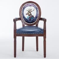 美式复古凳子 欧式餐椅美式实木复古靠背椅子咖啡厅布艺北欧新中式创意洽谈桌椅 有扶手宝蓝色鹿 雕花