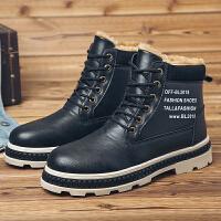 加绒加棉短靴子潮流韩版马丁靴学生百搭英伦雪地靴冬季保暖男鞋子 黑色 8333S