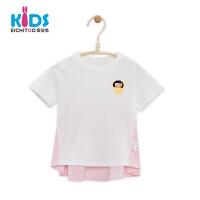 爱居兔女童夏装2018儿童纯棉短袖T恤洋气小女孩上衣