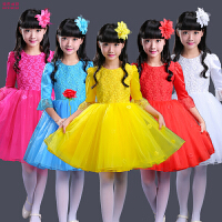 儿童大合唱服舞蹈女孩表演服装长袖儿童演出服女童公主裙蓬蓬纱裙