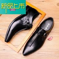 新品上市尖头搭扣男士潮流英伦韩版型师小皮鞋子真皮酷酒红黄棕色商务春