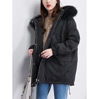 新年特惠大毛领连帽羽绒衣外套2019新款韩版中款黑色白鸭绒中长款羽绒服女