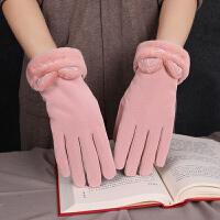 手套女冬季韩版可爱可触屏皮绒手套防风防寒骑行加厚保暖网红款潮