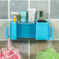洗漱套�b多功能牙刷牙膏收�{架粘�N式多功能牙膏牙刷架浴室洗漱用品�l生�g收�{架盒 �{色