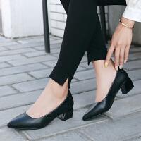 尖头方跟工作鞋女黑色酒店正装职业鞋粗跟面试空姐鞋礼仪鞋皮鞋