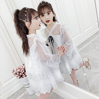 女童连衣裙春装儿童蝴蝶结圆点蕾丝裙女孩网纱公主裙