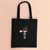 韩版帆布单肩包女 韩版卡通单肩手提包女帆布包斜挎购物袋补习袋学生书包潮