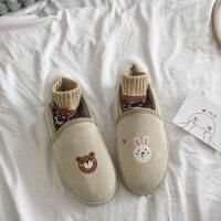 雪地靴女短靴韩版百搭学生冬季保暖加绒一脚蹬平底棉鞋豆豆面包 米白色