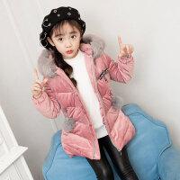 儿童棉服 女童韩版加厚棉袄2020冬季新款女孩时尚冬装中大童毛球金丝绒棉衣外套