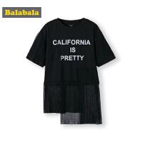 巴拉巴拉童装女童半袖T恤短袖中大童夏装2019新款拼接网纱假两件