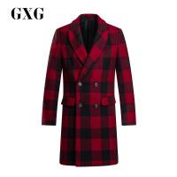 【联合超品日 2.5折到手价:332.25 】GXG男装 冬季男士都市潮流青年绅士修身休闲时尚黑红格毛呢大衣