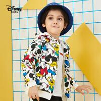 迪士尼男童连帽童装外套2020春秋新款宝宝儿童卡通印花洋气上衣潮
