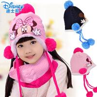 儿童针织帽围巾两件套装 迪士尼冬季宝宝帽子男女童韩版护耳保暖