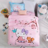 全棉套件三件套纯棉单人1.2m床单被套学生宿舍0.9m高低床儿童套件v定制 玫红色 时尚KT 1.2m(4英尺)床